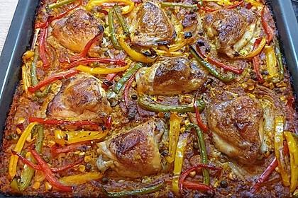 Hähnchenkeulen auf Reis aus dem Ofen (Bild)