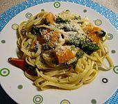 Spaghetti mit Kürbis und Spinat (Bild)