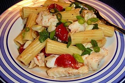 Tomaten-Pasta mit Seelachs (Bild)