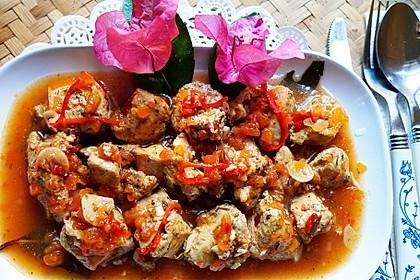 Geschmorte Hühnerbrust - Petto di Pollo in umido (Bild)