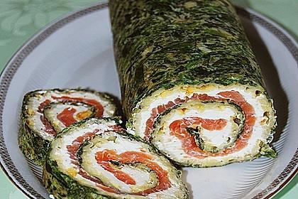 Lachsrolle mit Spinat und Frischkäse 17
