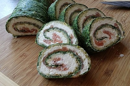 Lachsrolle mit Spinat und Frischkäse 82