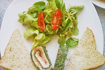 Lachsrolle mit Spinat und Frischkäse 95
