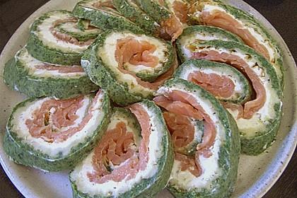 Lachsrolle mit Spinat und Frischkäse 111