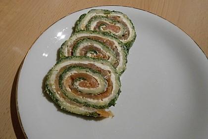 Lachsrolle mit Spinat und Frischkäse 9