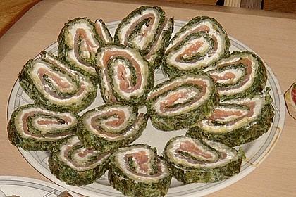 Lachsrolle mit Spinat und Frischkäse 130