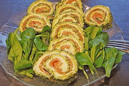 Lachsrolle mit Spinat und Frischkäse 55