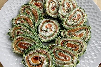 Lachsrolle mit Spinat und Frischkäse 7
