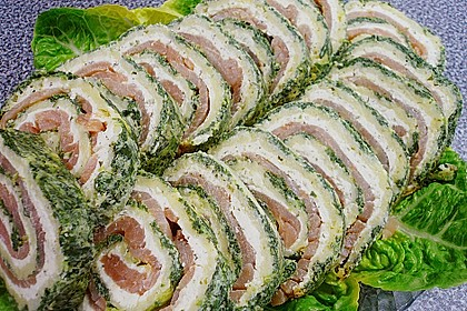 Lachsrolle mit Spinat und Frischkäse 50