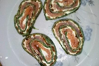 Lachsrolle mit Spinat und Frischkäse 160
