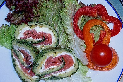 Lachsrolle mit Spinat und Frischkäse 63