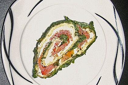 Lachsrolle mit Spinat und Frischkäse 115