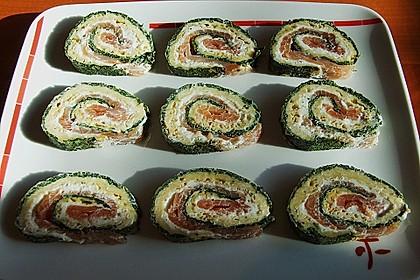 Lachsrolle mit Spinat und Frischkäse 91