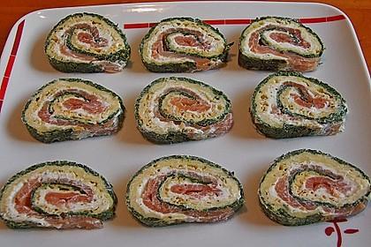Lachsrolle mit Spinat und Frischkäse 11