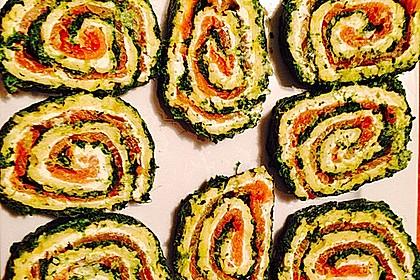 Lachsrolle mit Spinat und Frischkäse 90
