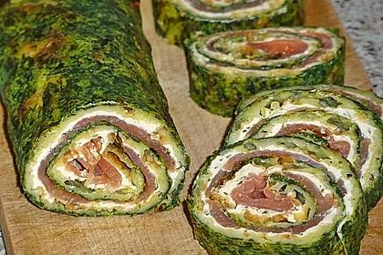Lachsrolle mit Spinat und Frischkäse 10
