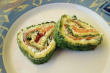 Lachsrolle mit Spinat und Frischkäse 70