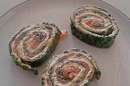Lachsrolle mit Spinat und Frischkäse 80