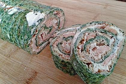 Lachsrolle mit Spinat und Frischkäse 131