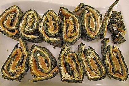 Lachsrolle mit Spinat und Frischkäse 157