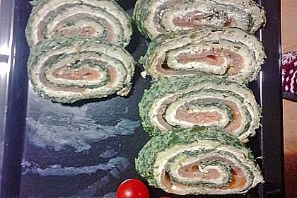 Lachsrolle mit Spinat und Frischkäse 159