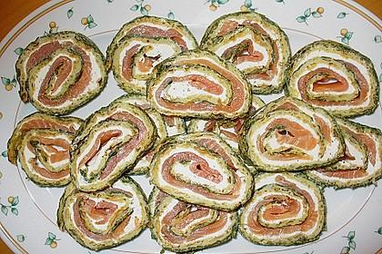Lachsrolle mit Spinat und Frischkäse 85