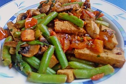 Tofu und grüne Bohnen - Pilz Pfanne 2
