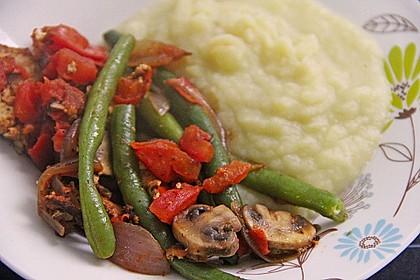 Tofu und grüne Bohnen - Pilz Pfanne 1