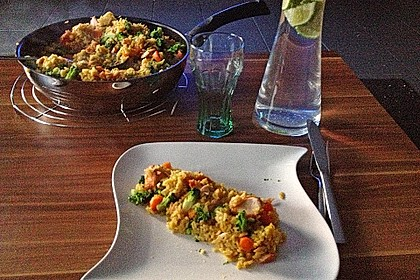 Bunte Reis - Fisch - Pfanne 9
