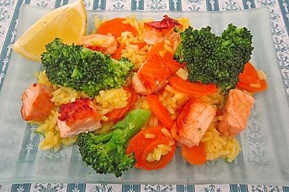 Bunte Reis - Fisch - Pfanne