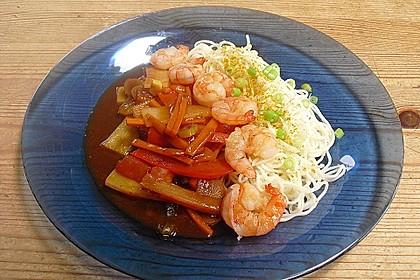 Shrimps - Gemüse - Mie Nudel - Wok, süß- scharf 5