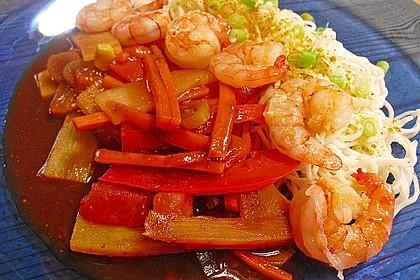 Shrimps - Gemüse - Mie Nudel - Wok, süß- scharf 6