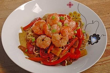 Shrimps - Gemüse - Mie Nudel - Wok, süß- scharf 1