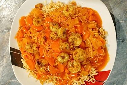 Shrimps - Gemüse - Mie Nudel - Wok, süß- scharf 4