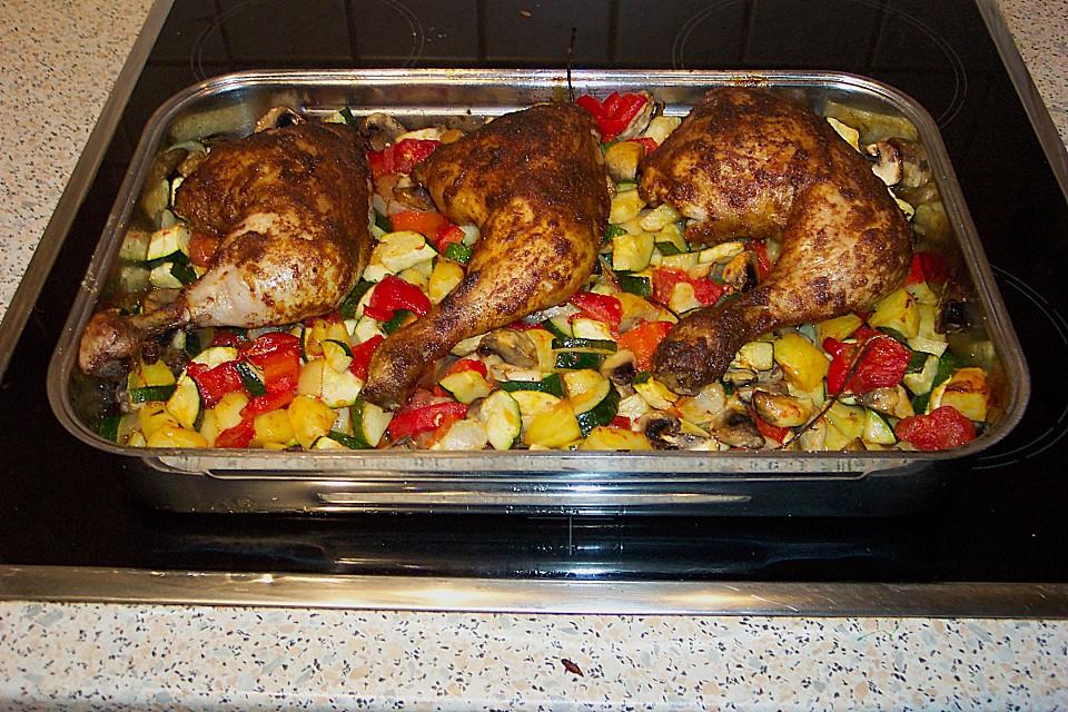 Hähnchenschenkel Mit Ofen Schmand Gemüse Von Staldi Chefkoch