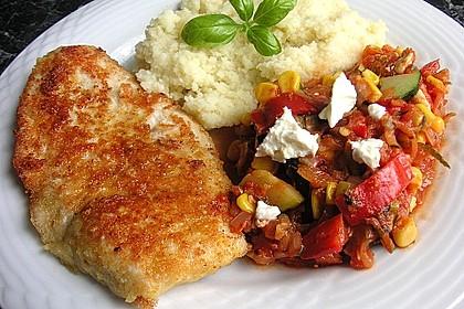 Puten - Parmesan - Schnitzel mit Feta - Gemüsepfanne