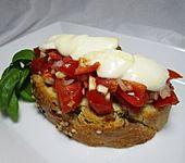 Ciabatta á la Bruschetta, mit Mozzarella überbacken (Bild)