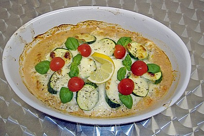 Kabeljau mit Zucchini - Mozzarella - Kruste