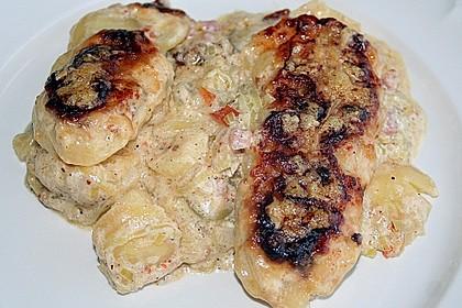 Kartoffelgratin mit Lauch und Oliven