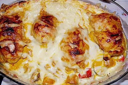 Gefüllte Hähnchenfilets in  feiner Currygemüsesoße überbacken 1