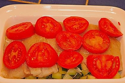 Seelachsfilet auf Zucchinibett 44