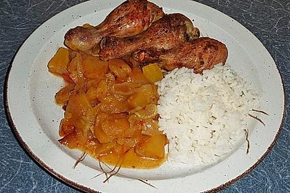 Hähnchenschenkel auf Curryobst