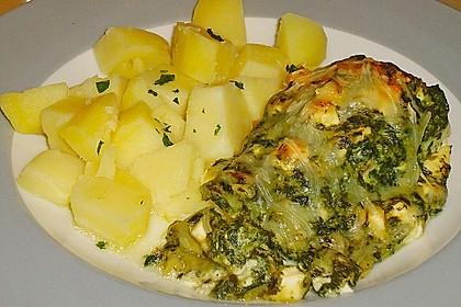 Seelachsfilet mit Spinat - Feta - Kruste