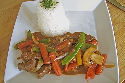 Chinesisches Rinderfilet (scharf) mit buntem Gemüse und Basmatireis 1
