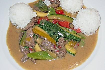 Chinesisches Rinderfilet (scharf) mit buntem Gemüse und Basmatireis