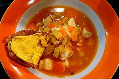 Fischsuppe mit Safran, Orangen und Pernod