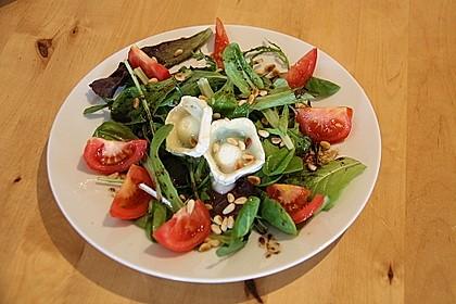 Gemischter Blattsalat mit Pinienkernen und gebratenem Ziegenkäse 1