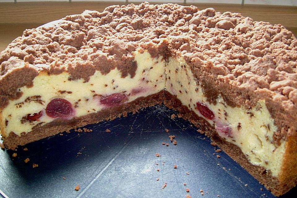 Schoko Streuselkuchen Mit Vanille Kirschfullung Von Perle