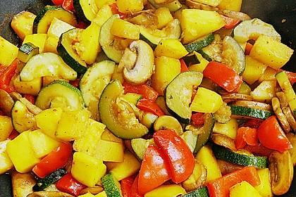 Mango - Gemüse - Pfanne mit Pilzen 2