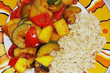 Mango - Gemüse - Pfanne mit Pilzen 3